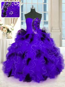 Black And Purple Lace Up Strapless Beading and Ruffles Quince Ball Gowns Tulle Sleeveless