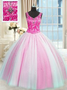 V-neck Sleeveless Tulle Quinceanera Dress Beading Lace Up