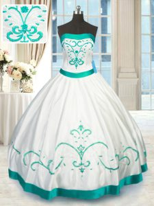 White Strapless Lace Up Beading and Embroidery Quinceanera Dress Sleeveless