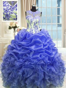 Charming Scoop Blue Sleeveless Organza Zipper Sweet 16 Quinceanera Dress for Military Ball and Sweet 16 and Quinceanera