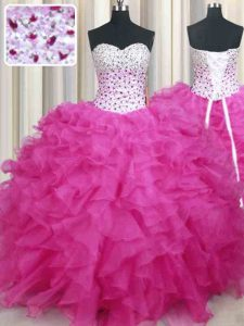 Halter Top Sleeveless Lace Up Floor Length Beading and Ruffles Quinceanera Dresses