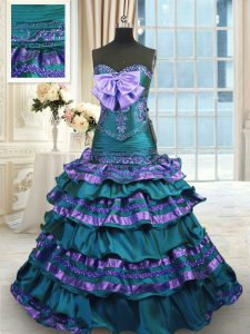 Peacock Green Lace Up Sweetheart Appliques and Ruffled Layers and Bowknot Quinceanera Gowns Taffeta Sleeveless Sweep Train