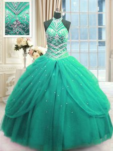 Ball Gowns Quinceanera Gowns Turquoise High-neck Tulle Sleeveless Floor Length Lace Up