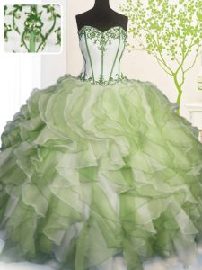 Admirable Multi-color Organza Lace Up Sweetheart Sleeveless Floor Length Quinceanera Gown Beading and Ruffles