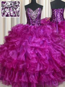 Low Price Sleeveless Floor Length Beading and Ruffles Lace Up 15 Quinceanera Dress with Fuchsia