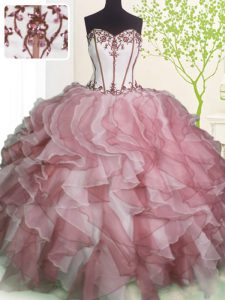 New Style Pink And White Organza Lace Up Sweet 16 Quinceanera Dress Sleeveless Floor Length Ruffles