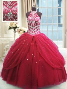 High-neck Sleeveless Lace Up Quinceanera Dress Red Tulle