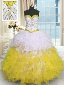 High End Yellow And White Sweetheart Neckline Beading and Ruffles Quinceanera Dresses Sleeveless Lace Up
