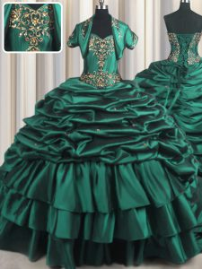 Hot Sale Peacock Green Lace Up Sweetheart Beading and Appliques and Pick Ups Ball Gown Prom Dress Taffeta Sleeveless Brush Train