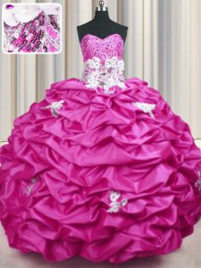 Romantic Sweetheart Sleeveless Taffeta Sweet 16 Quinceanera Dress Appliques and Sequins and Pick Ups Sweep Train Lace Up