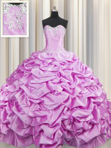 Stunning Brush Train Lilac Sleeveless Beading and Pick Ups Lace Up Quinceanera Gown