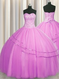 Perfect Visible Boning Really Puffy Tulle Sleeveless Floor Length Vestidos de Quinceanera and Beading
