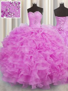 Pretty Organza Sweetheart Sleeveless Lace Up Beading and Ruffles Quinceanera Dress in Lilac