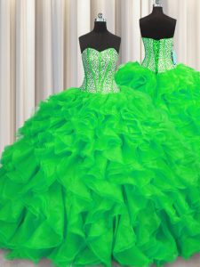 Beauteous Visible Boning Sweetheart Sleeveless 15th Birthday Dress Brush Train Beading and Ruffles Green Organza