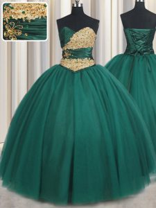 Attractive Floor Length Lace Up Sweet 16 Quinceanera Dress Peacock Green for Military Ball and Sweet 16 and Quinceanera with Beading and Appliques