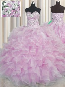 Flare Bling-bling Sleeveless Floor Length Beading and Ruffles Lace Up Quinceanera Gowns with Lilac
