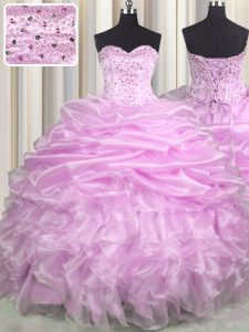 High Class Sleeveless Brush Train Lace Up Floor Length Beading and Ruffles and Pick Ups Sweet 16 Quinceanera Dress