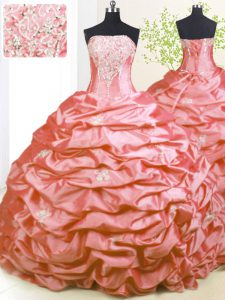 Pick Ups With Train Ball Gowns Sleeveless Pink Quinceanera Gown Sweep Train Lace Up