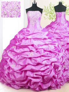 Excellent Lilac Strapless Lace Up Beading and Pick Ups Womens Party Dresses Sweep Train Sleeveless