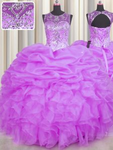Top Selling Scoop See Through Lilac Ball Gowns Beading and Ruffles and Pick Ups Quinceanera Gowns Backless Organza Sleeveless Floor Length