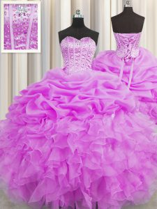 Visible Boning Lilac Ball Gowns Organza Sweetheart Sleeveless Beading and Ruffles and Pick Ups Floor Length Lace Up Sweet 16 Quinceanera Dress