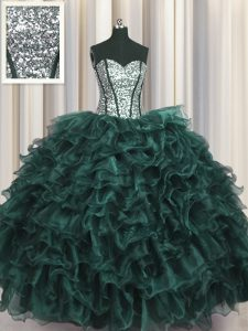 Perfect Visible Boning Peacock Green Sweetheart Lace Up Ruffles and Sequins Sweet 16 Dress Sleeveless