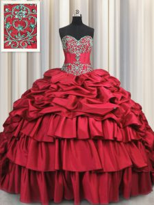 7f88b252b7 Affordable Embroidery Wine Red Sleeveless Taffeta Brush Train Lace Up  Quince Ball Gowns for Military Ball