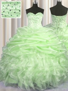 Dazzling With Train Lace Up Quinceanera Dress Yellow Green for Military Ball and Sweet 16 and Quinceanera with Beading and Ruffles and Pick Ups Brush Train