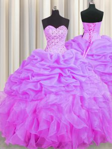Beading and Ruffles and Pick Ups Sweet 16 Quinceanera Dress Lilac Lace Up Sleeveless Floor Length