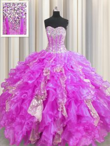 Best Selling Sequins Visible Boning Lilac Sleeveless Organza and Sequined Lace Up Quinceanera Dresses for Military Ball and Sweet 16 and Quinceanera