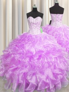 Pretty Visible Boning Zipper Up Lilac Sleeveless Floor Length Beading and Ruffles Zipper Sweet 16 Dresses
