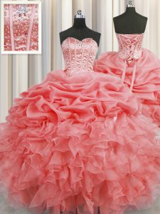 Pick Ups Visible Boning Floor Length Watermelon Red Sweet 16 Dress Sweetheart Sleeveless Lace Up