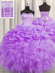 Designer Pick Ups Visible Boning Floor Length Lilac Quinceanera Dresses Sweetheart Sleeveless Lace Up