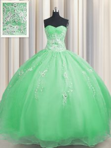 Zipper Up Floor Length Quince Ball Gowns Organza Sleeveless Beading and Appliques