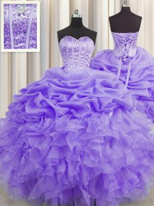 Colorful Visible Boning Lavender Sweetheart Lace Up Beading and Ruffles and Pick Ups Quinceanera Gowns Sleeveless