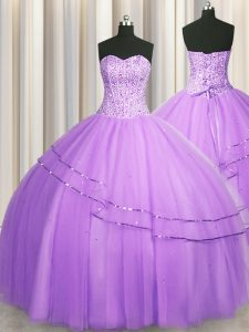 Visible Boning Puffy Skirt Lilac Sweetheart Neckline Beading Vestidos de Quinceanera Sleeveless Lace Up