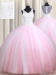 Straps Floor Length Pink And White Sweet 16 Dresses Tulle Sleeveless Lace