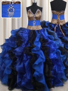 Charming Blue And Black Lace Up Strapless Beading and Ruffles 15 Quinceanera Dress Organza Sleeveless