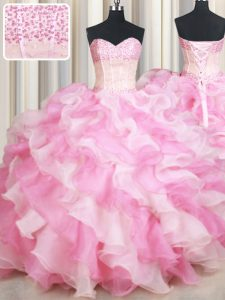Sleeveless Organza Floor Length Lace Up 15 Quinceanera Dress in Pink And White with Beading and Ruffles