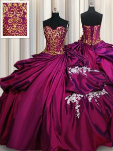 Fuchsia Sleeveless Floor Length Beading and Appliques and Pick Ups Lace Up Quinceanera Dresses