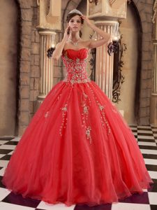 Ruched Strapless Hot Red Quinceanera Gown Dress with Beading for Cheap