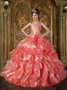 Coral Red Ruched Beaded Sweetheart Ruffled Quinceanera Dress with Flower