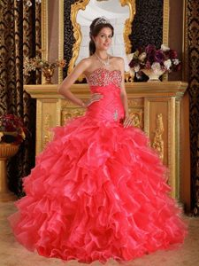 Cheap Coral Red Sweetheart Ruched Sweet 16 Dress with Ruffles and Beading