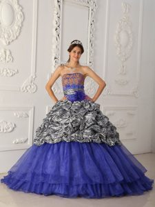 Blue and Zebra Strapless Quinceanera Dresses with Appliques and Pick-ups