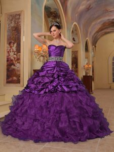 Ruched Sweetheart Purple Sweet 16 Dress with Beading and Ruffles