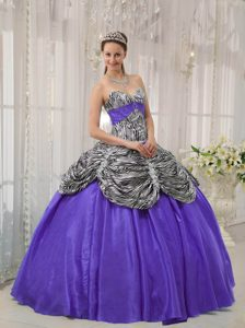 Sweetheart Zebra and Purple Quinceanera Dress with Pick-ups on Promotion