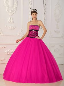 2013 Custom Made Strapless Hot Pink Tulle and Zebra Sweet 16 Dress with Beading