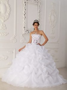 White Strapless Court Train Quinceanera Dresses with Pick-ups and Flowers