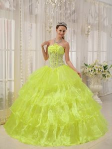 Bright Yellow Strapless Layered Quinceanera Dress with Beading and Flower