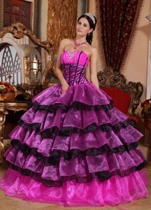 Chic Hot Pink and Black Sweetheart Sweet 16 Dress with Layers and Beading